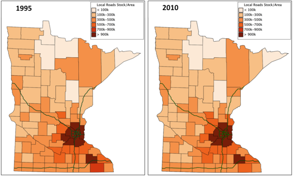 Figure 1: Local road Capital Stocks in Minnesota Counties, 1995 and 2010